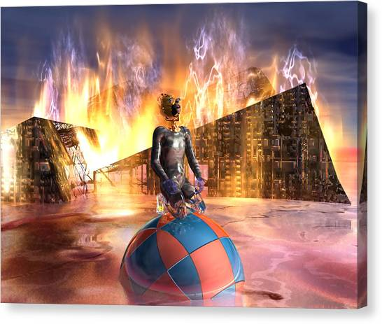 Oil Child Night Of The Fire #19_dd Canvas Print by Stephen Donoho