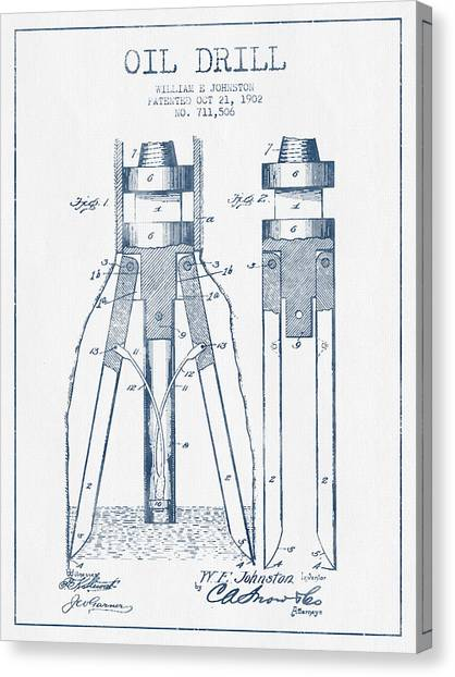 Oil Rigs Canvas Print - Oil Drill Patent From 1902 -  Blue Ink by Aged Pixel