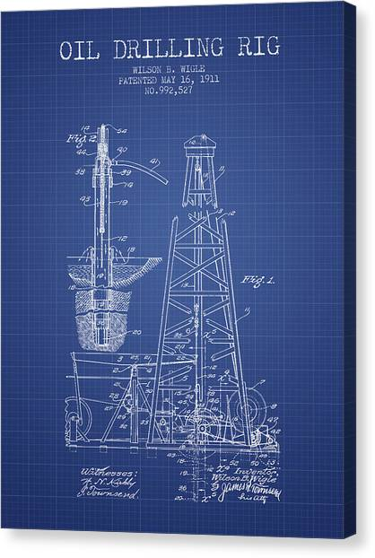 Oil Rigs Canvas Print - Oil Drilling Rig Patent From 1911 - Blueprint by Aged Pixel