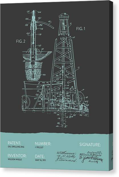 Oil Rigs Canvas Print - Oil Drilling Rig Patent From 1911 - Gray Blue by Aged Pixel
