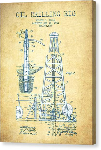 Oil Rigs Canvas Print - Oil Drilling Rig Patent From 1911 - Vintage Paper by Aged Pixel