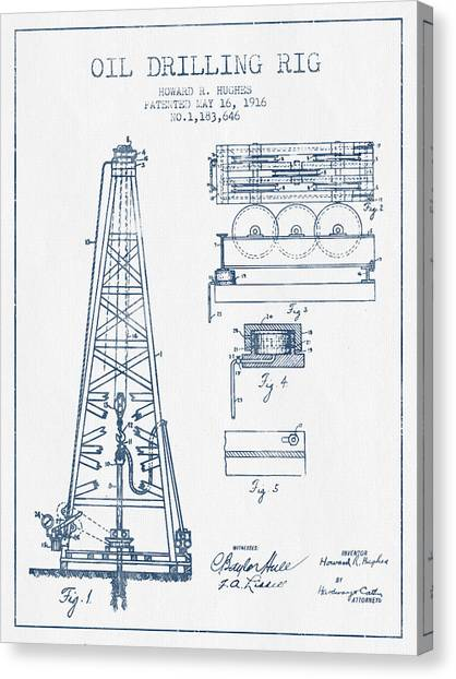 Oil Rigs Canvas Print - Oil Drilling Rig Patent From 1916 -  Blue Ink by Aged Pixel