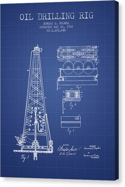 Oil Rigs Canvas Print - Oil Drilling Rig Patent From 1916 - Blueprint by Aged Pixel