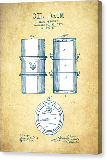 Drums Canvas Print - Oil Drum Patent Drawing From 1905 - Vintage Paper by Aged Pixel