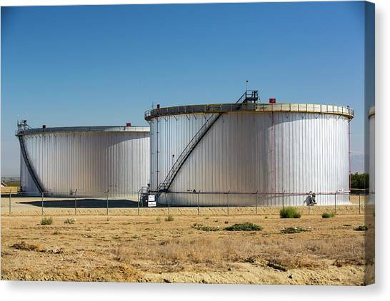 Fracking Canvas Print - Oil Field Infrastructure by Ashley Cooper