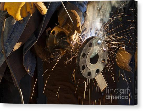 Oil Industry Pipefitter Welder Canvas Print