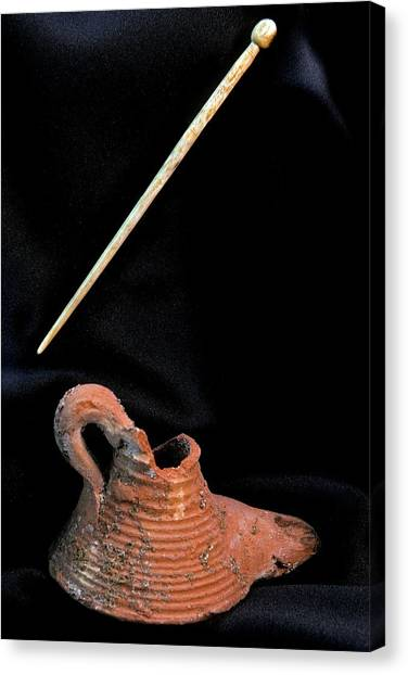 Hellenistic Art Canvas Print - Oil Lamp And Pin by Patrick Landmann/science Photo Library
