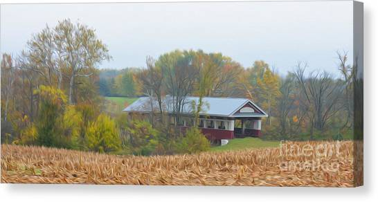 Oil Painted Covered Bridge Canvas Print by Brian Mollenkopf