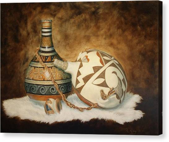 Oil Painting - Indian Pots Canvas Print