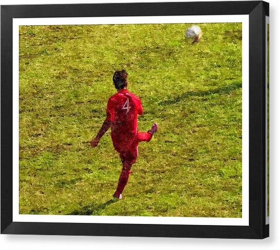 Oil Painting Of Soccer Player Canvas Print by John Vito Figorito