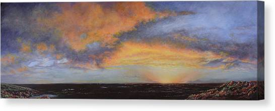 Oil Painting When The Sky Turns Color Canvas Print