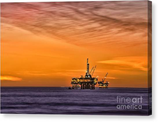 Oil Platform At Sunset  Canvas Print