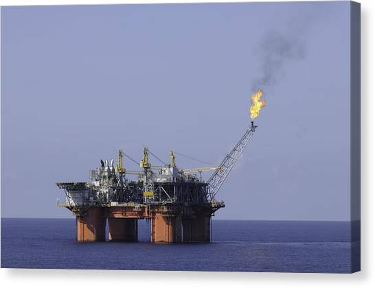 Oil Production Platform With Flare Canvas Print