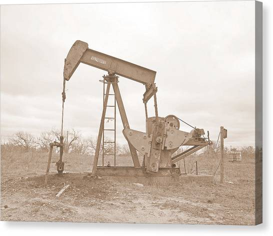 Oil Pump In Sepia Canvas Print