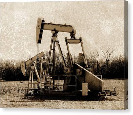 Oil Pump Jack In Sepia Canvas Print