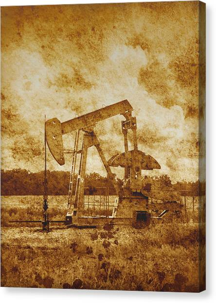 Oil Pump Jack In Sepia Two Canvas Print