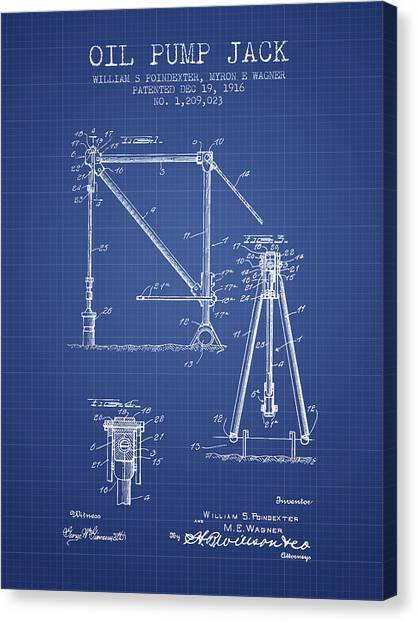 Oil Rigs Canvas Print - Oil Pump Jack Patent From 1916 - Blueprint by Aged Pixel