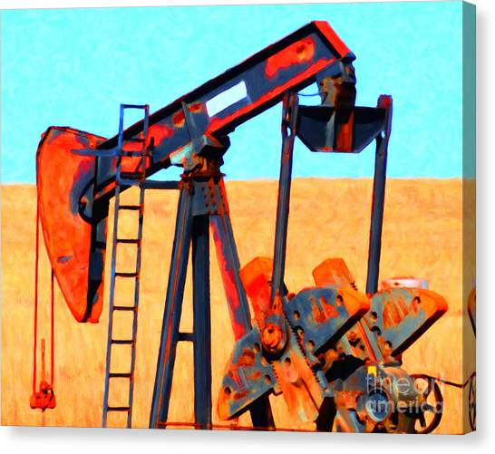 Canvas Print featuring the photograph Oil Pump - Painterly by Wingsdomain Art and Photography