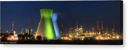 Oil Refineries Panoramic View Canvas Print by Isaac Silman