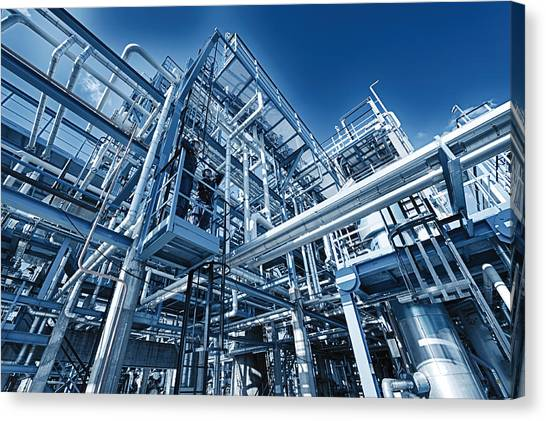 Oil Refinery And Pipelines Construction Canvas Print