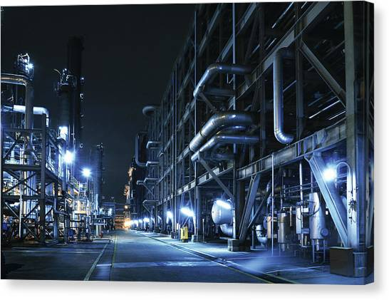 Oil Refinery, Chemical & Petrochemical Canvas Print by Zorazhuang