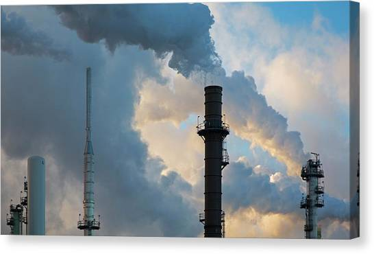 Oil Refinery Towers Canvas Print by Jim West