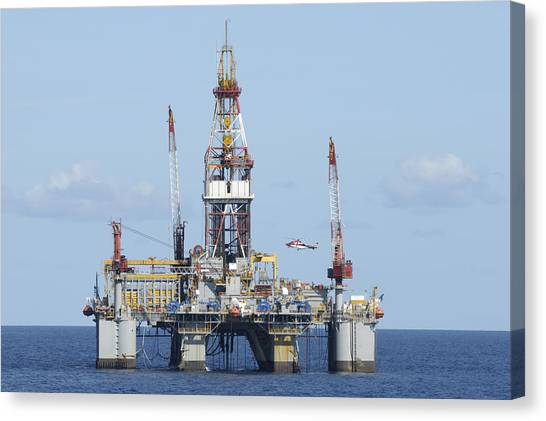 Oil Rig And Helicopter Canvas Print
