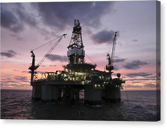 Oil Rig At Dawn Canvas Print