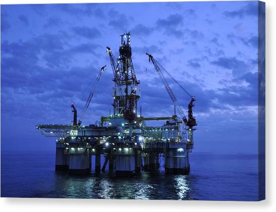 Oil Rig At Twilight Canvas Print
