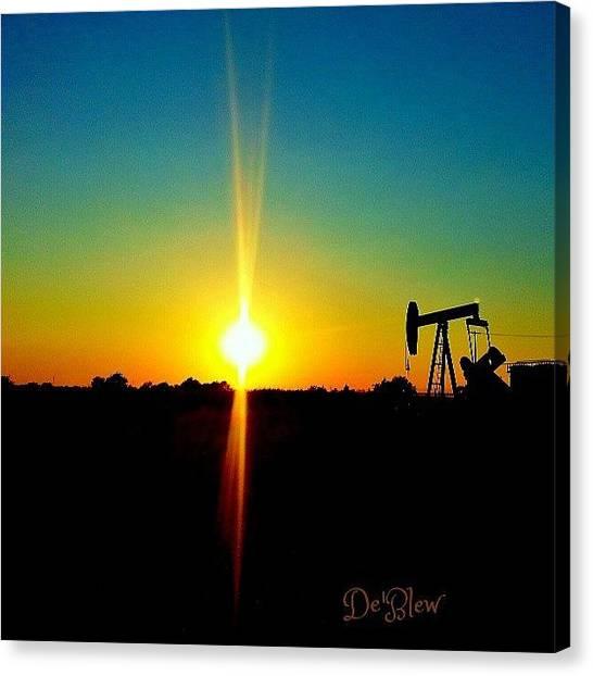 Oil Rigs Canvas Print - #oil #rig #oklahoma #city #rainbow by Deb Lew