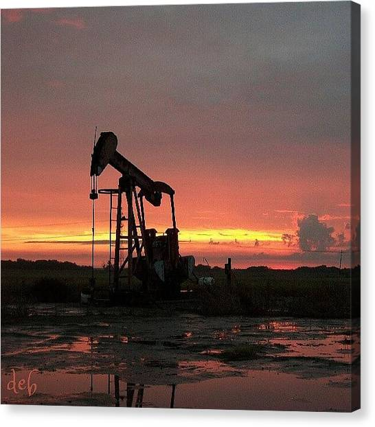 Oil Rigs Canvas Print - #oil #rig #silhouette #ourtravelgram by Deb Lew