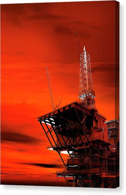 Fossils Canvas Print - Oil Rig by Victor Habbick Visions