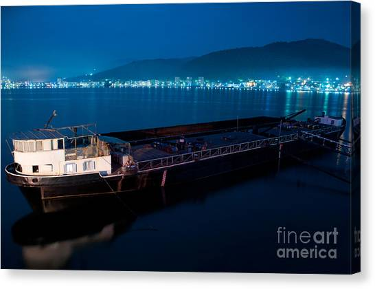Oil Tanker At Night Canvas Print by Ciprian Kis