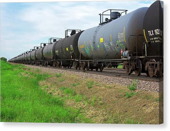 Climate Change Canvas Print - Oil Tanker Train by Jim West