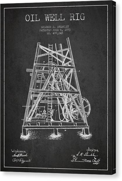 Oil Rigs Canvas Print - Oil Well Rig Patent From 1893 - Dark by Aged Pixel