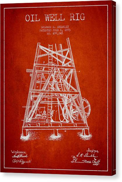 Oil Rigs Canvas Print - Oil Well Rig Patent From 1893 - Red by Aged Pixel