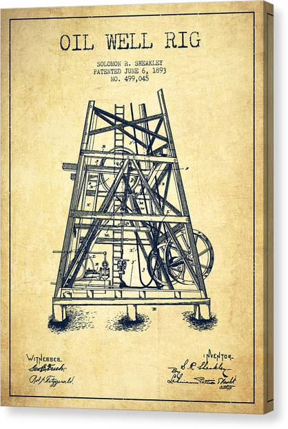 Oil Rigs Canvas Print - Oil Well Rig Patent From 1893 - Vintage by Aged Pixel