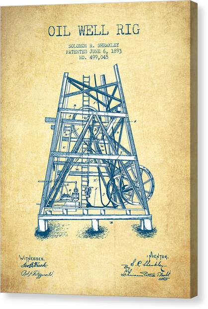 Oil Rigs Canvas Print - Oil Well Rig Patent From 1893 - Vintage Paper by Aged Pixel