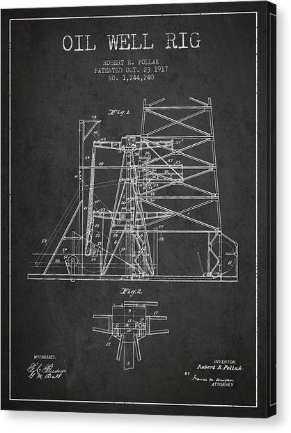 Oil Rigs Canvas Print - Oil Well Rig Patent From 1917- Dark by Aged Pixel