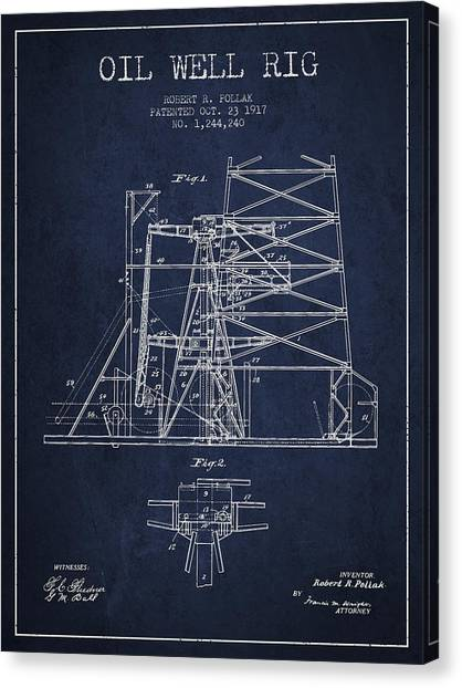 Oil Rigs Canvas Print - Oil Well Rig Patent From 1917- Navy Blue by Aged Pixel