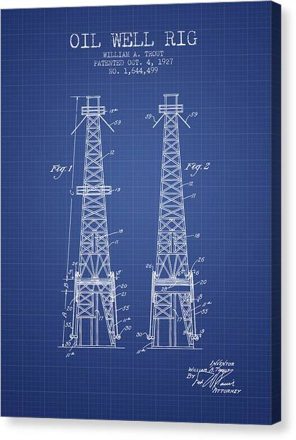 Oil Rigs Canvas Print - Oil Well Rig Patent From 1927 - Blueprint by Aged Pixel