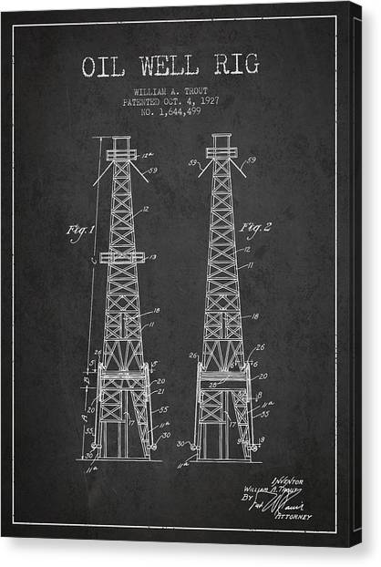 Oil Rigs Canvas Print - Oil Well Rig Patent From 1927 - Dark by Aged Pixel