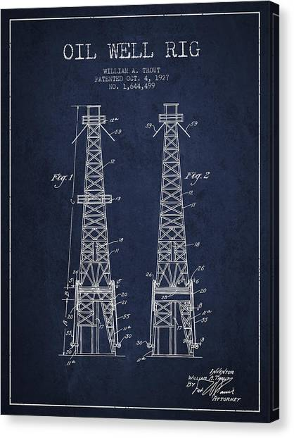 Oil Rigs Canvas Print - Oil Well Rig Patent From 1927 - Navy Blue by Aged Pixel