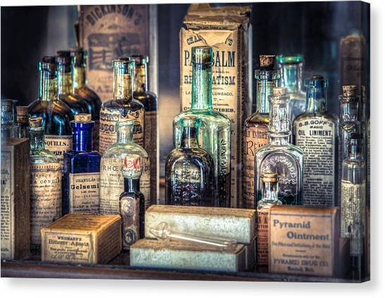 Ointments Tonics And Potions - A 19th Century Apothecary Canvas Print