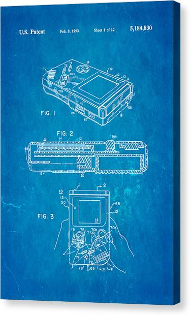 Gameboy Canvas Print - Okada Nintendo Gameboy 2 Patent Art 1993 Blueprint by Ian Monk