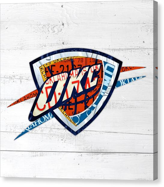 Oklahoma City Thunder Canvas Print - Okc Thunder Basketball Team Retro Logo Vintage Recycled Oklahoma License Plate Art by Design Turnpike
