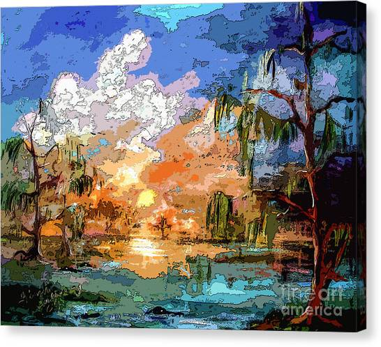 Okefenokee Canvas Print - Okefenokee Sunset Magic  by Ginette Callaway