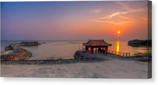 Okinawa Sunset In Yomitan Canvas Print by Chris Rose