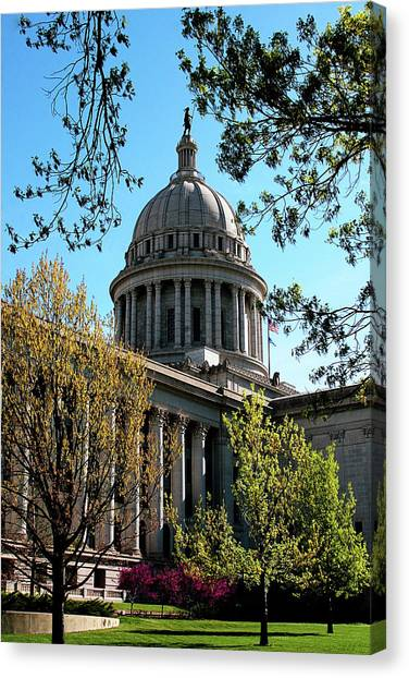 Capitol Building Canvas Print - Oklahoma City Capitol In The Spring by Toni Hopper