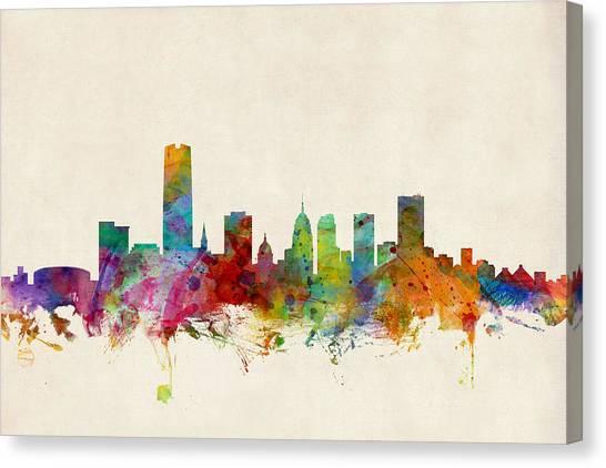 United States Canvas Print - Oklahoma City Skyline by Michael Tompsett